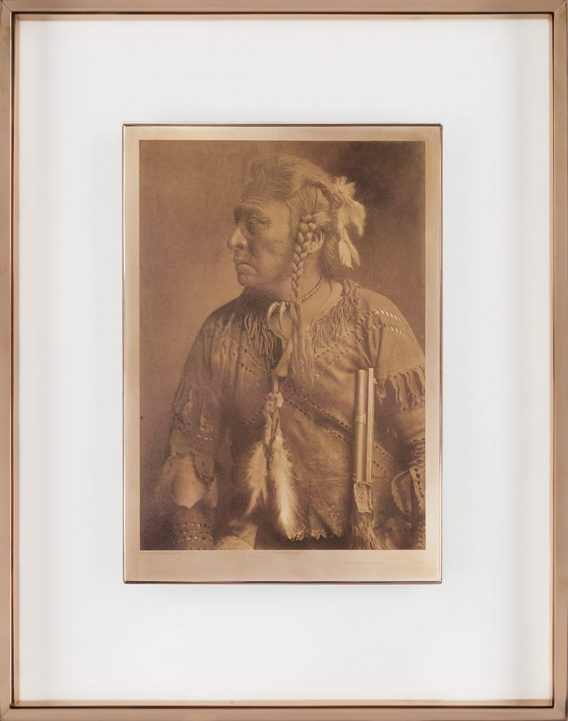 Framed copper plate of Horse Capture, Atsina by Edward S. Curtis.