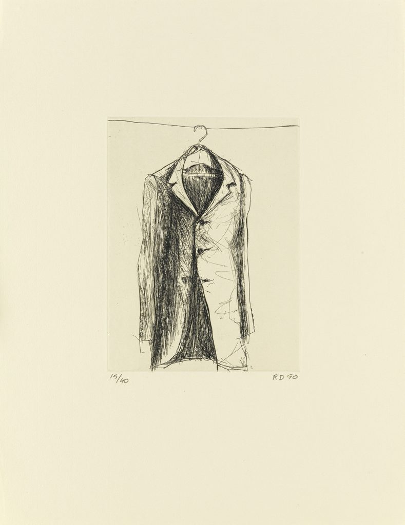 An etching of a coat by Richard Diebenkorn for Poems by W.B. Yeats.