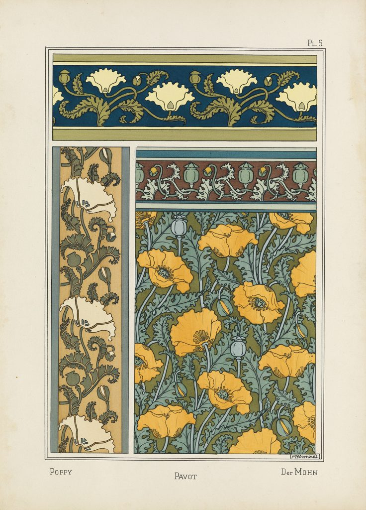 "Illustration of flower boarders from Eugène Grasset's ""La Plante et ses applications Ornementales."""