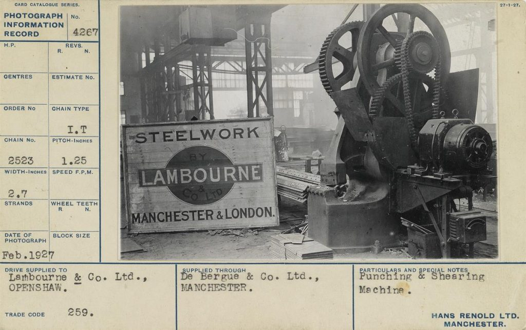 A stock card with a photo of steelwork machinery.