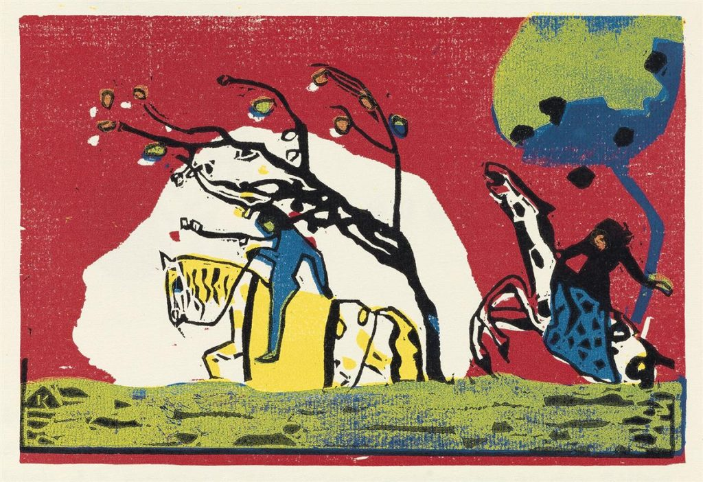 Color woodcut of men riding horses by Wassily Kandinsky.
