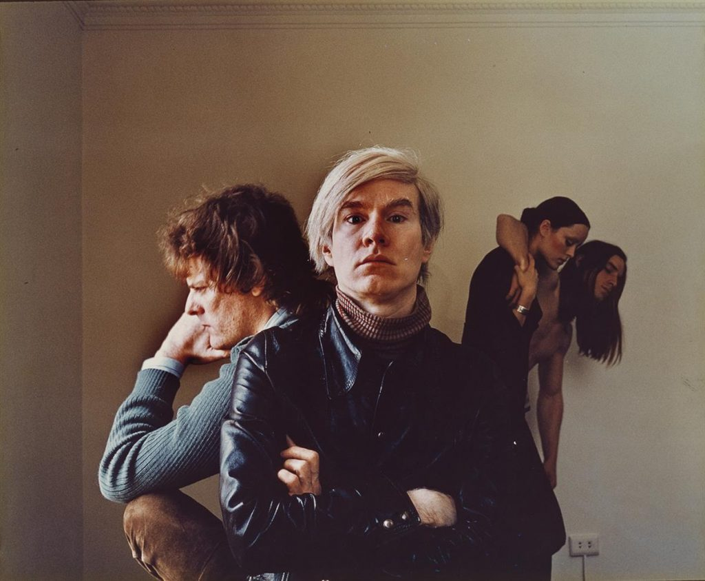 Photograph of Andy Warhol and friends by Douglas Kirkland.