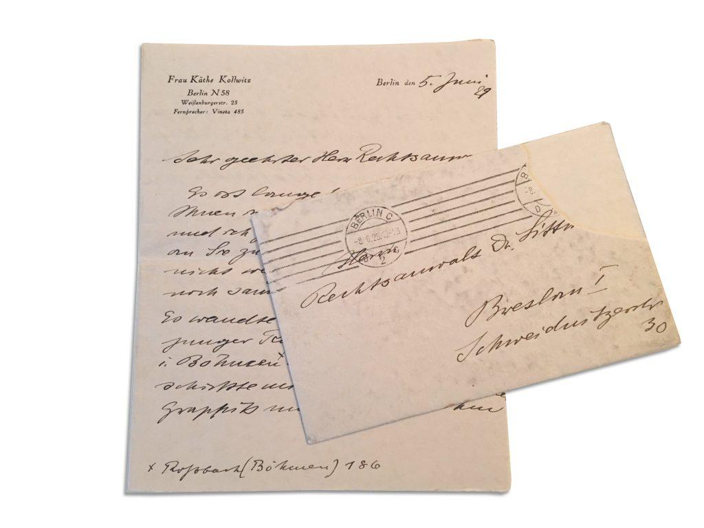 Käthe Kollwitz, correspondence to Ismar Littmann, 1929.