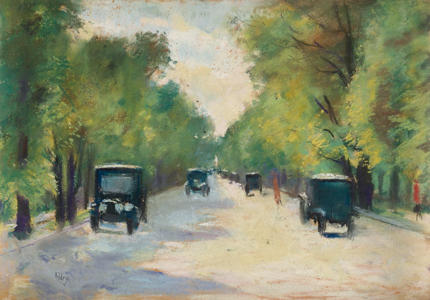 pastel street scene