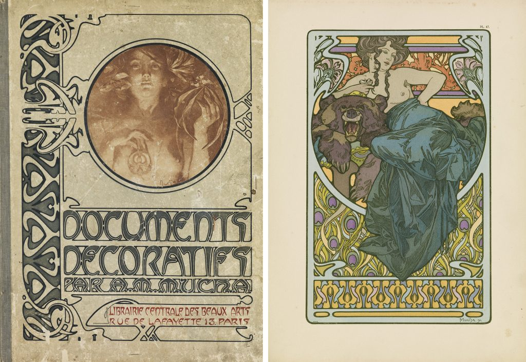 Image of Alphonse Mucha's Documents Decoratifs cover and an images from the portfolio.