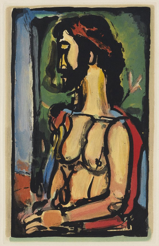 "Color aquatint of Jesus by Georges Rouault from ""Passion."""