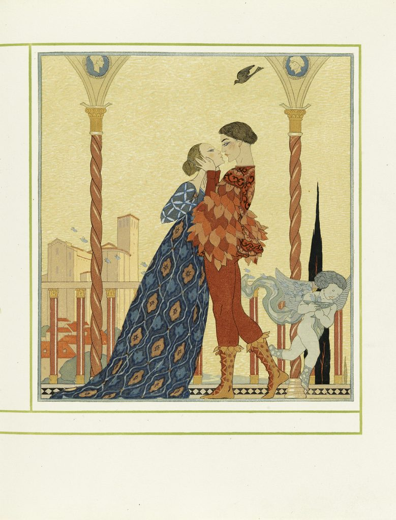 "An illustration of a medieval couple about to kiss by George Barbier & François-Louis Schmied for ""Personnages de Comédie."
