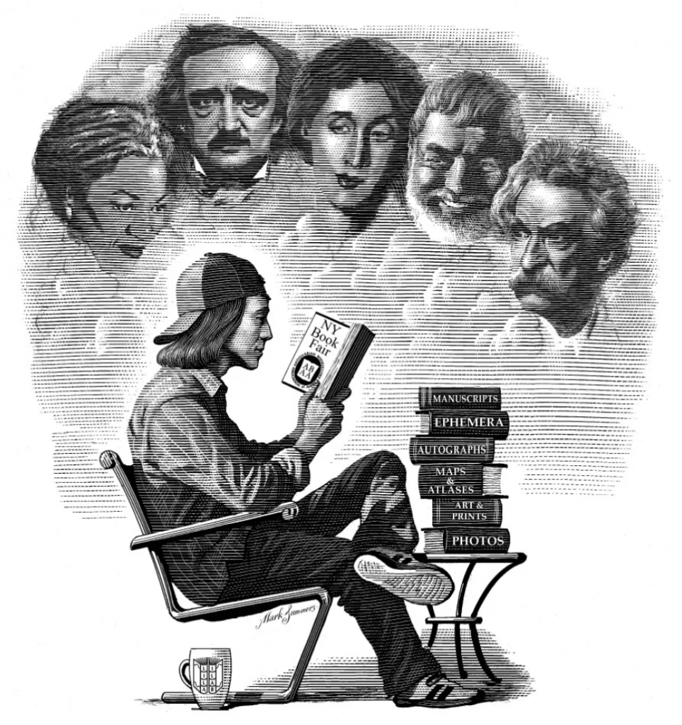 An etching of man reading with literary greats looking down on him advertising the NY Antiquarian Book Fair. Image by Mark Summers. Going on during Rare Books Week.