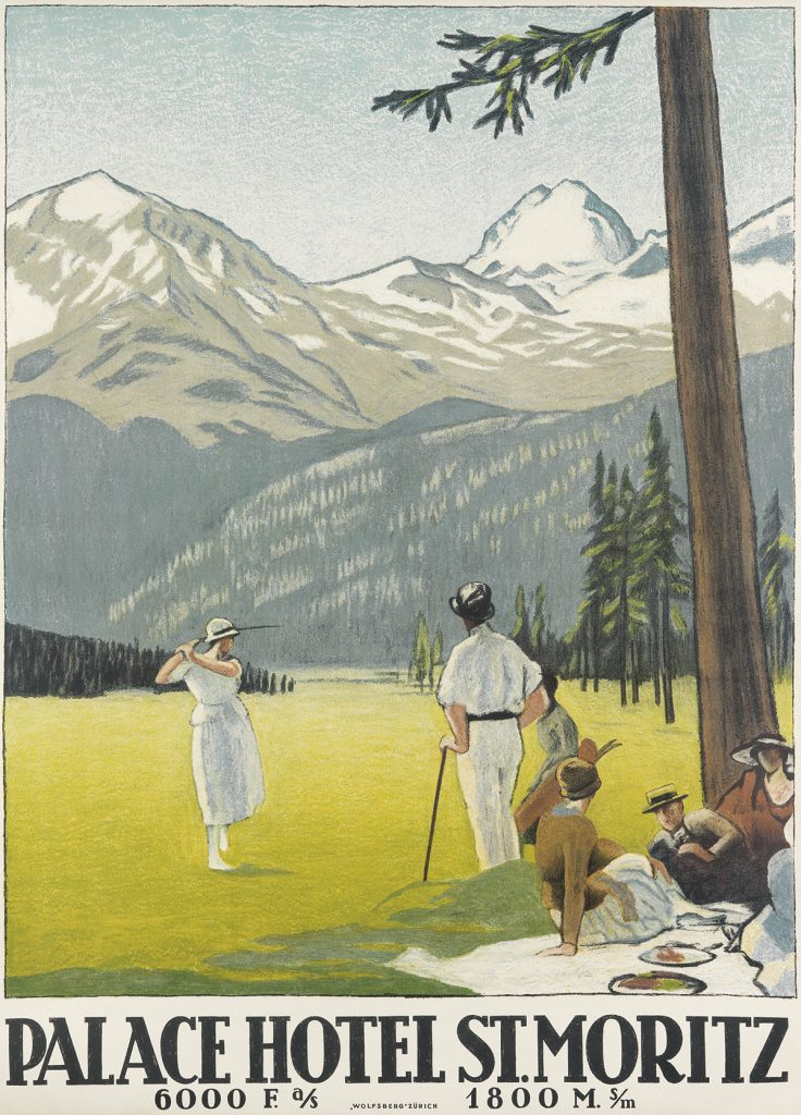 Poster for St. Moritz featuring a round of gold and a picnic with a alps in the background.