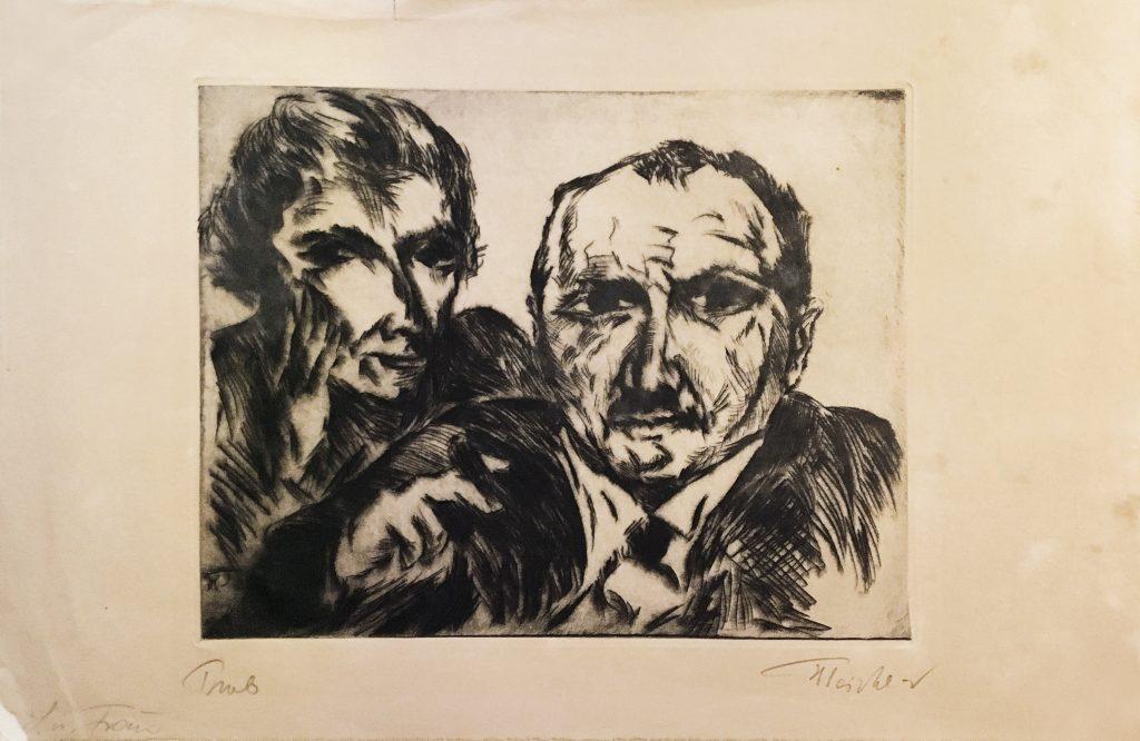Heinrich Tischler, Portrait of Käthe and Ismar Littmann, drypoint, circa 1925.