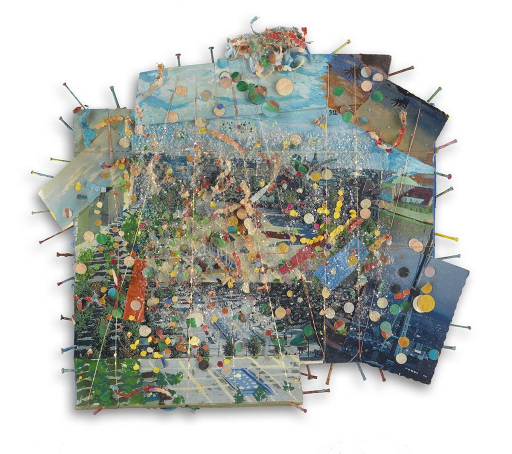 A mixed media paper collage with nails, glitter, thread and a wolf plastic figurine by Howardena Pindell.