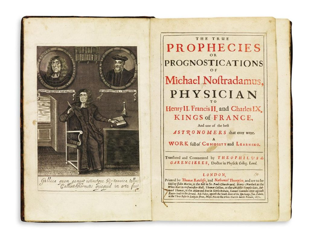 Title page with a portrait of Nostradamus's The True Prophecies or Prognostications.