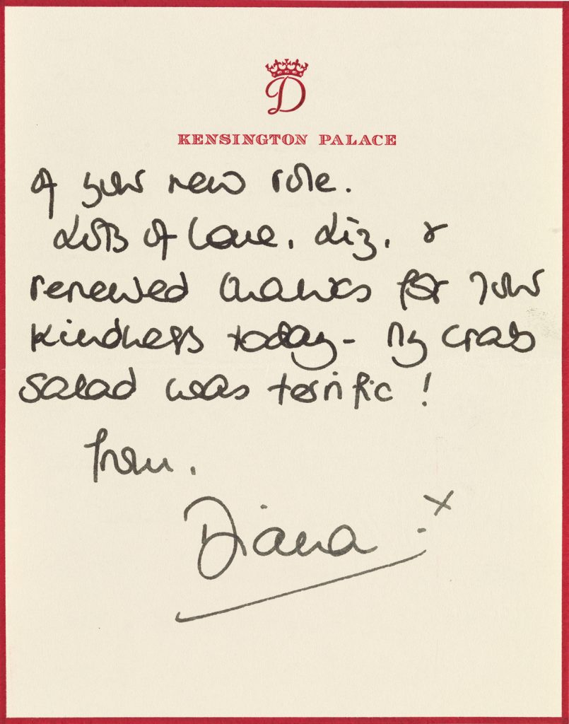 A letter from Princess Diana with red boarders