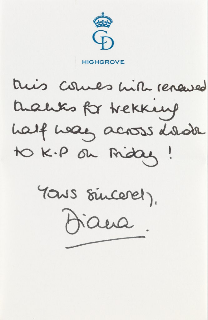 A note from Princess Diana with a blue CD monogram.