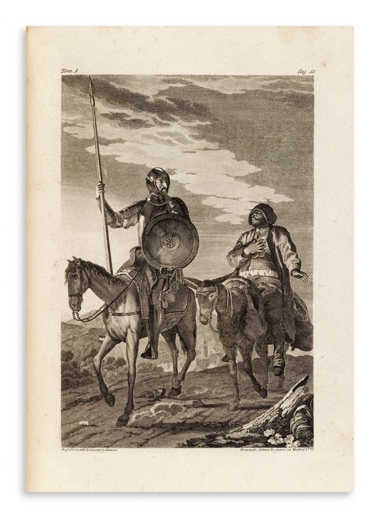 Single page illustration of Don Quixote and Sancho Panza.