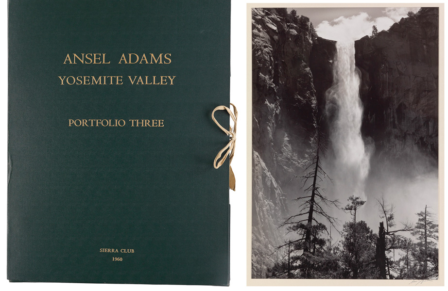 Lot 134  ANSEL ADAMS (1902-1984)  Portfolio Three: Yosemite Valley. Complete with 16 photographs and a letterpress colophon and title sheet with Adams' introduction.