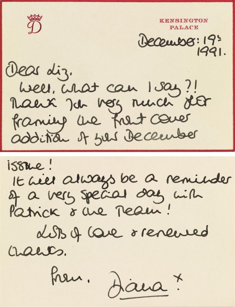 Front and back of a letter from Princess Diana.