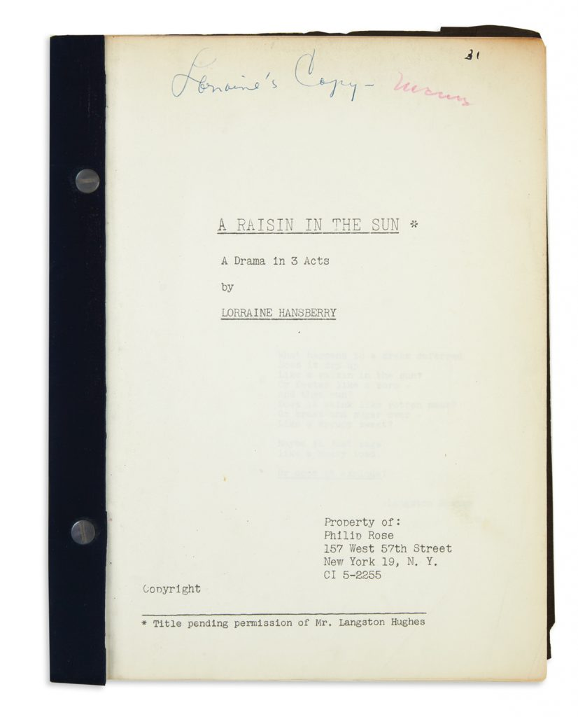 "The cover of a draft typescript of Lorraine Hansberry's ""A Raisin in the Sun"""