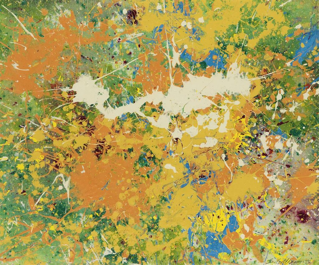 An abstract splatter painting in green, orange, yellow with flecks of white, purple and blue by Sam Gilliam.