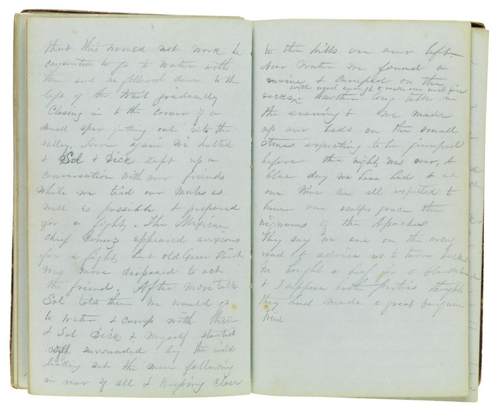 Two page spread from a manuscript diary.
