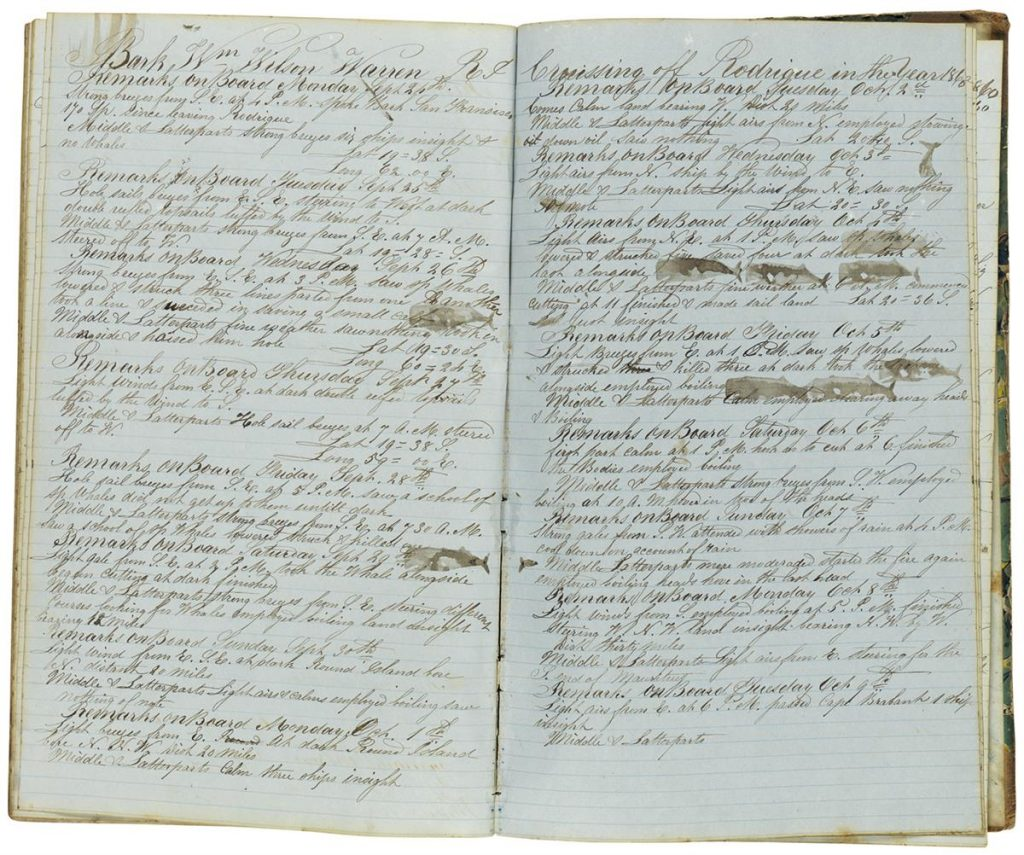 Two page spread of a manuscript diary with whale stamps on the pages.