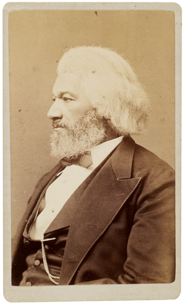 Photograph of Frederick Douglass in profile view.