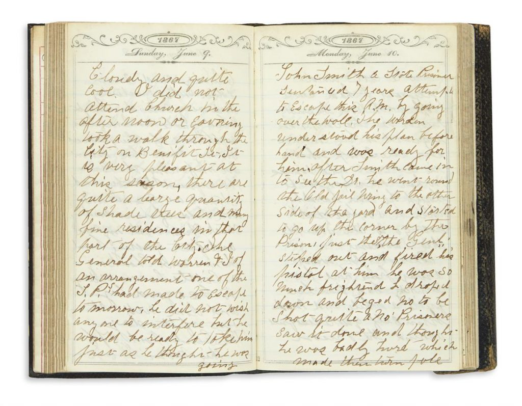 Two page spread of a manuscript diary.