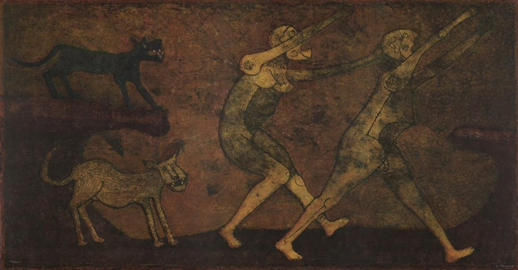 Image of two dogs chasing after two people by Rufino Tamayo.