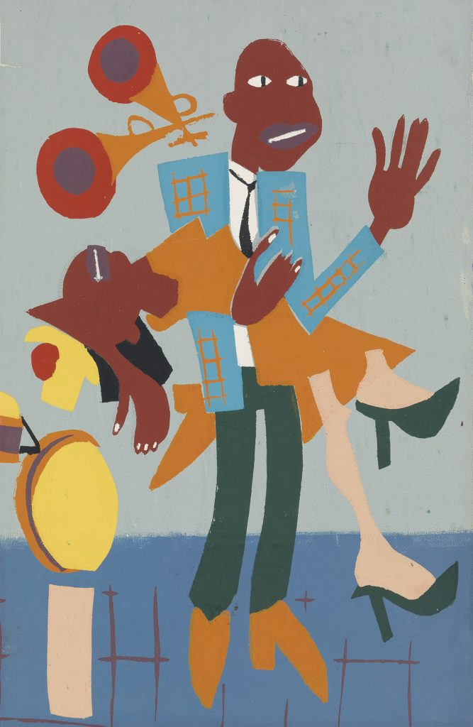 An abstract screenprint of a couple dancing to jazz music by William H. Johnson.