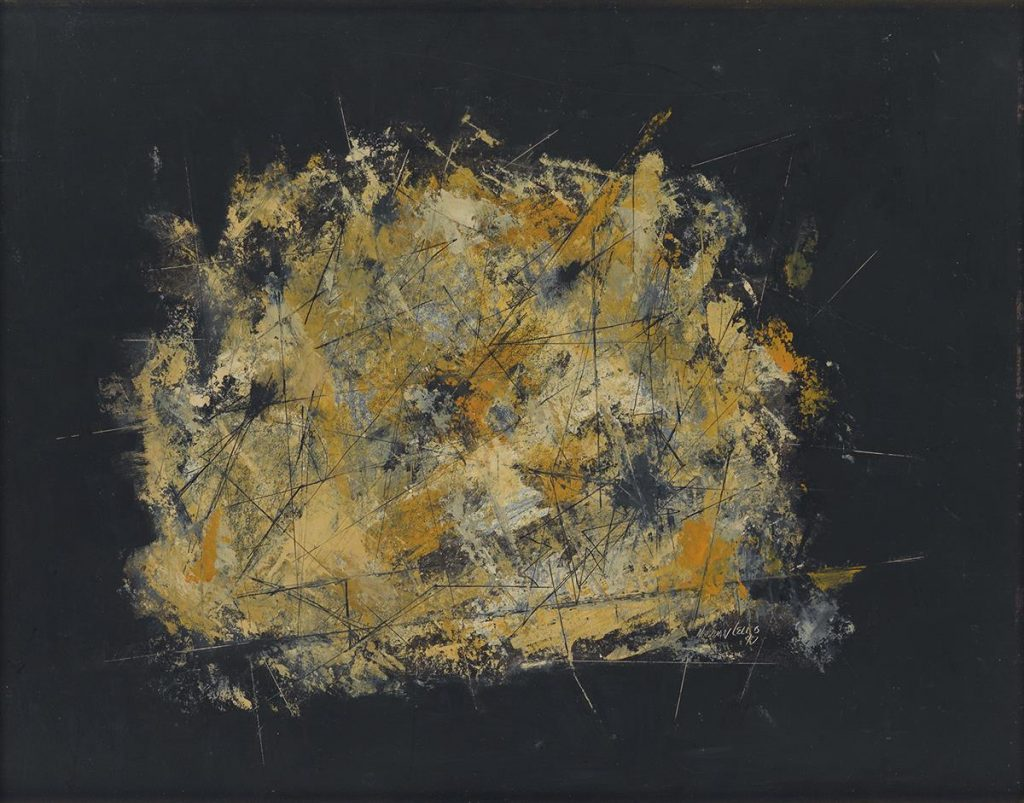 An abstract painting in black, yellow and orange by Norman Lewis.