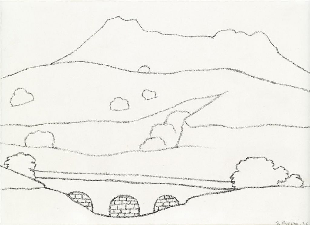 Black crayon line drawing of a landscape by DIego Rivera.
