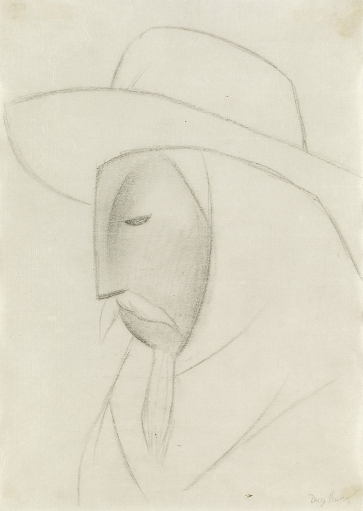 Crayon line drawing of a man in a sombrero by Diego Rivera.
