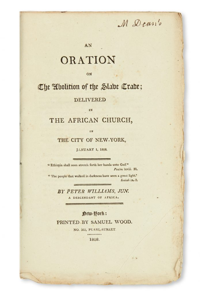 "Title page of ""An Oration on the Abolition of the Salve Trade, Delivered in the African Church, in New York City."""