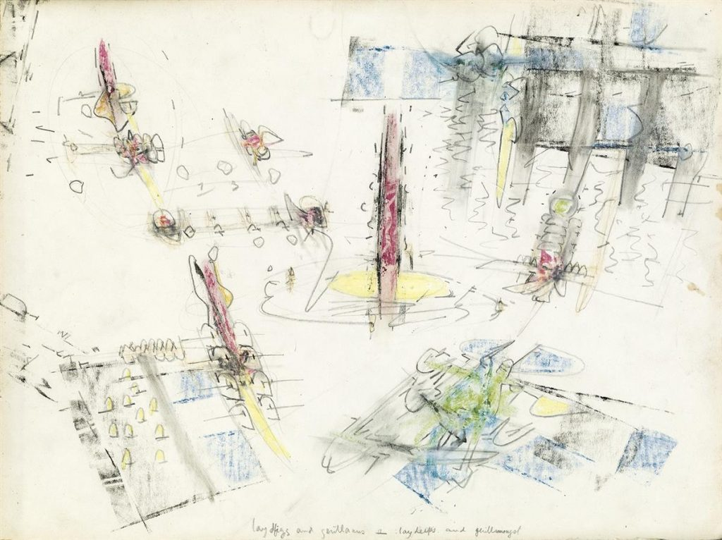 Surrealist pencil and crayon drawing of women and cowboys by Roberto Matta