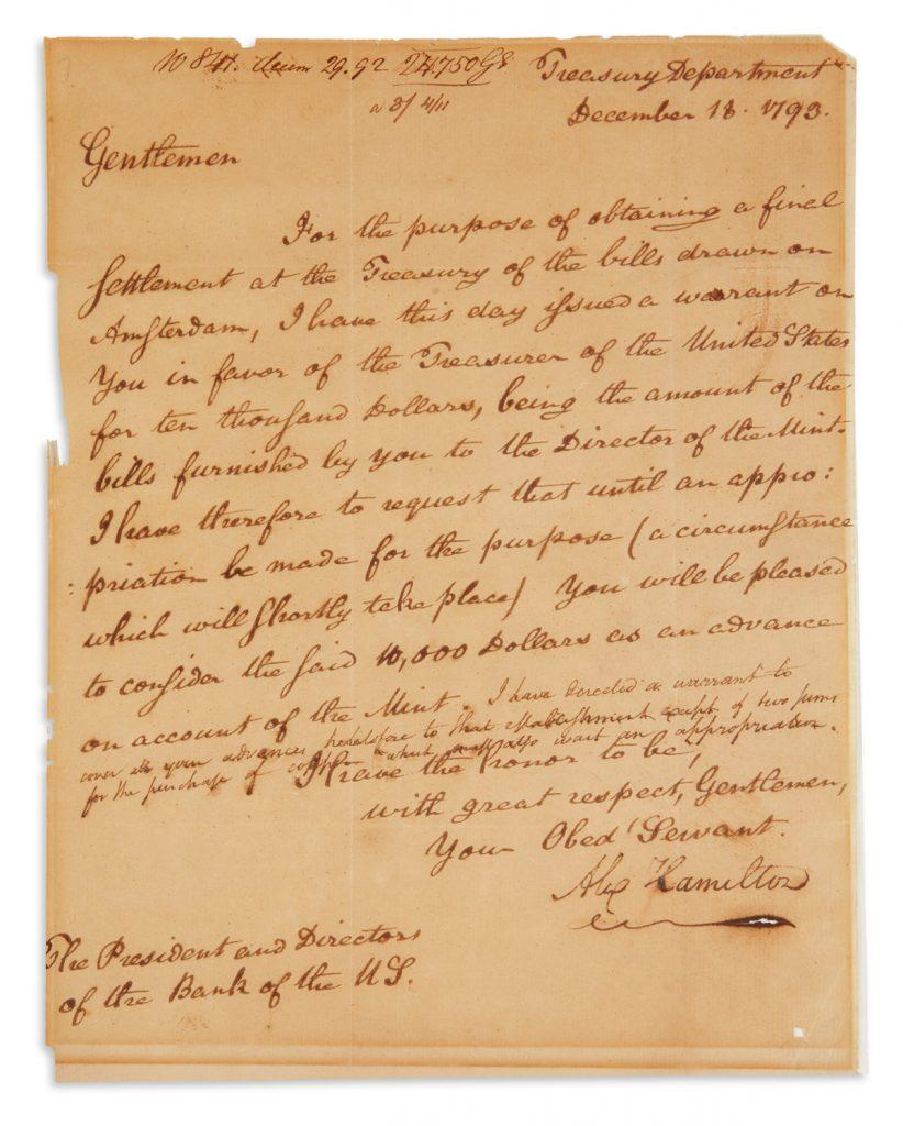 Autograph letter signed by Alexander Hamilton.