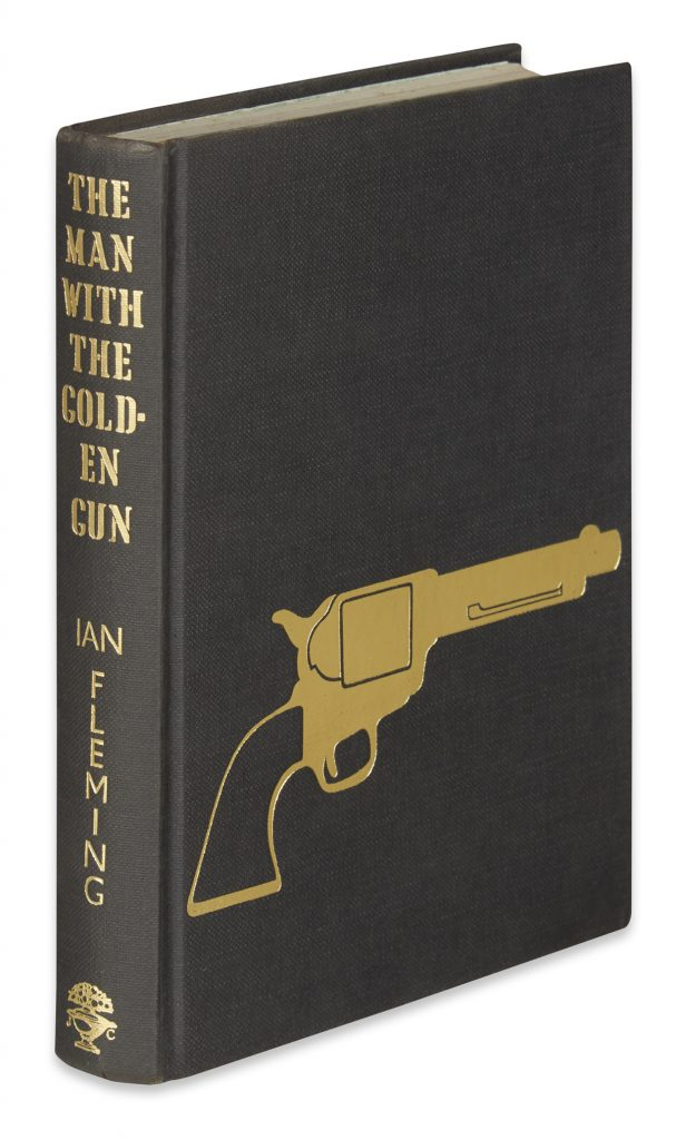 Cover image of Ian Fleming's James Bond novel, The Man with the Golden Gun with the rare golden gun on a black background.