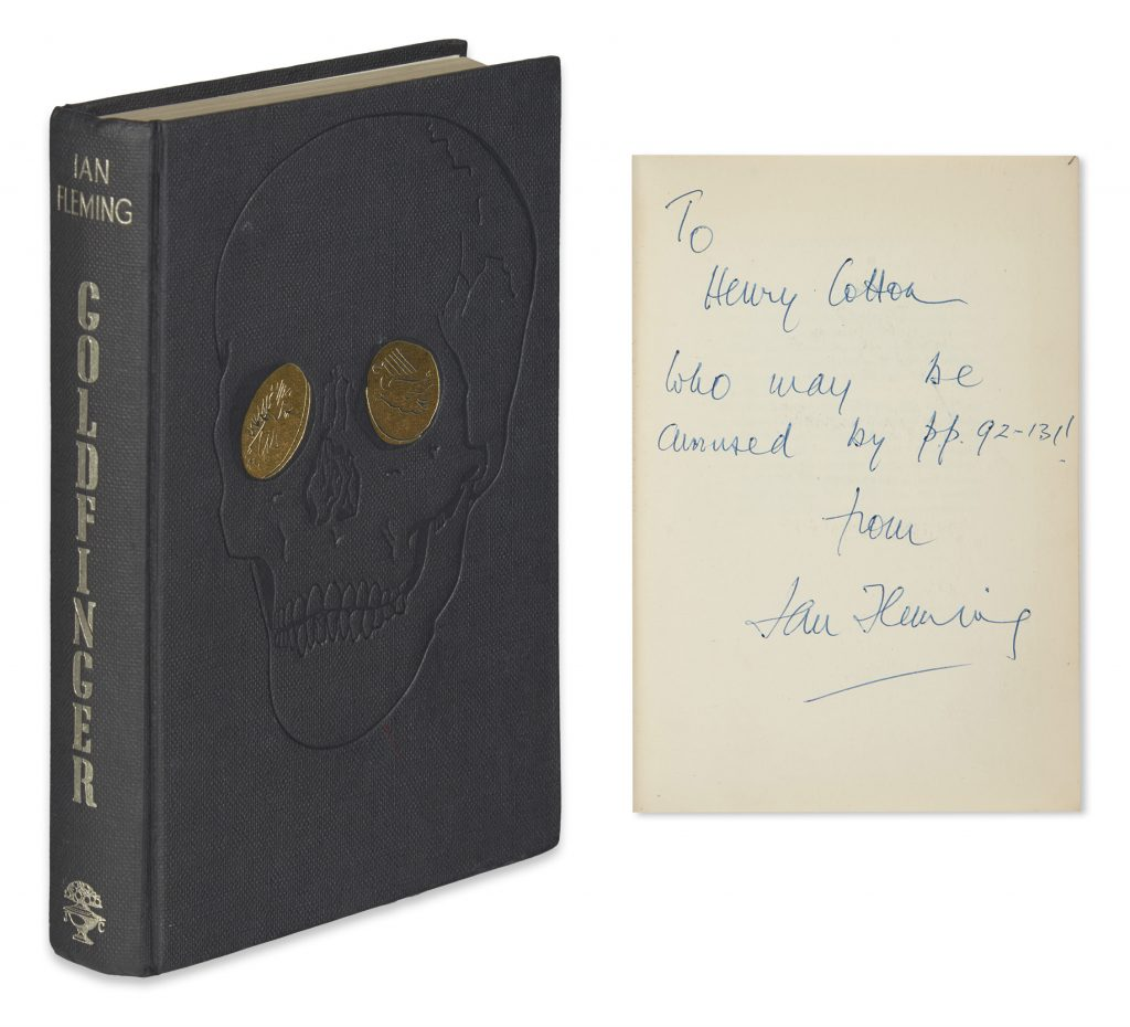 Front cover of James Bond novel, Goldfinger. Shown with Ian Fleming inscription to Henry Cotton.