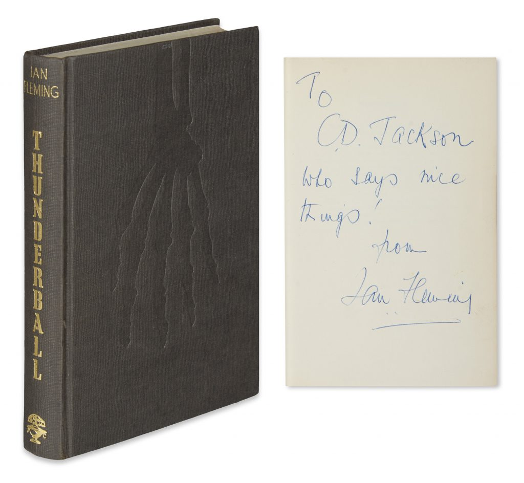 Front cover of James Bond novel, Thunderball. Shown with Ian Fleming inscription to C.D. Jackson.