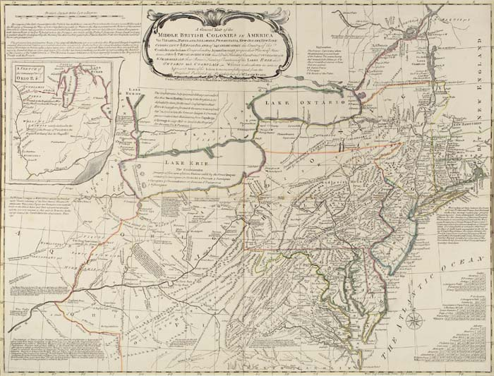 "Lewis Evans' ""General Map of the Middle British Colonies in America,"" 1765."