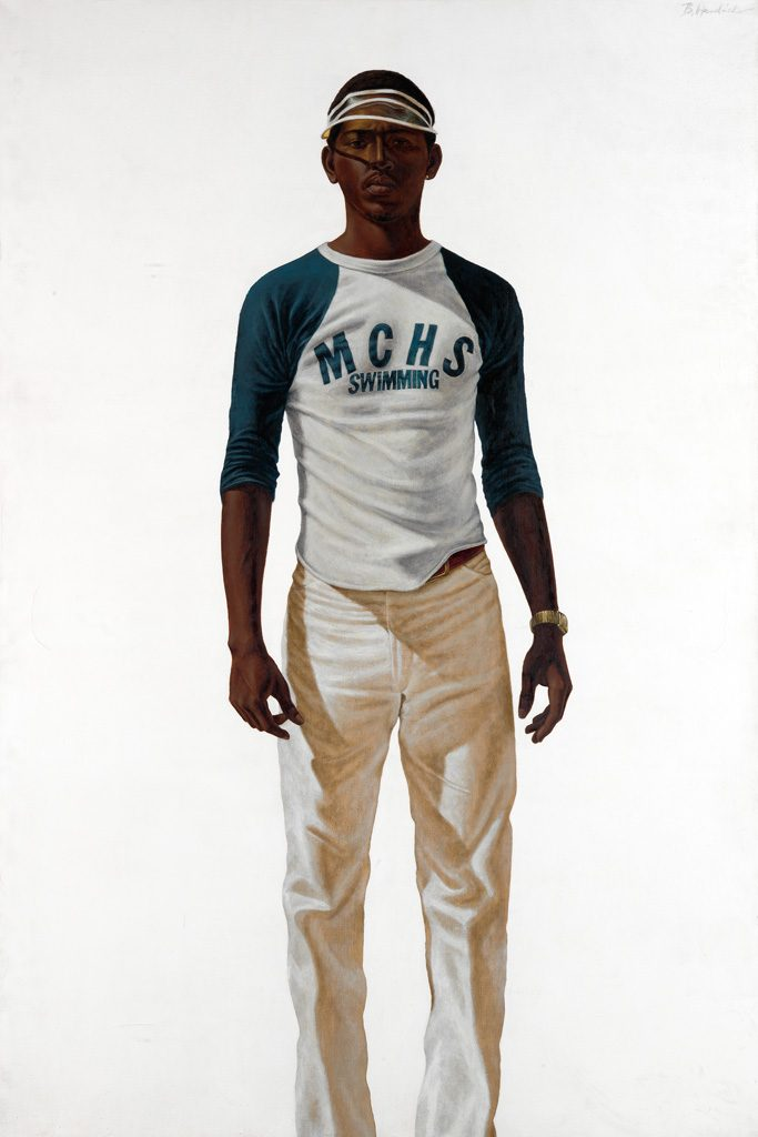 Painted image of a young African American man in a visor by Barkley L. Hendricks.
