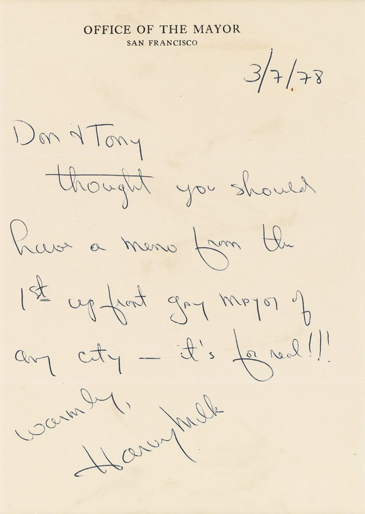 An autograph letter signed by Harvey Milk.