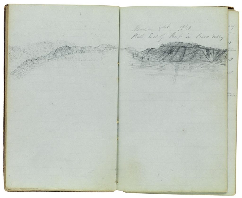 Two page spread from a manuscript diary with a doodle of a landscape.