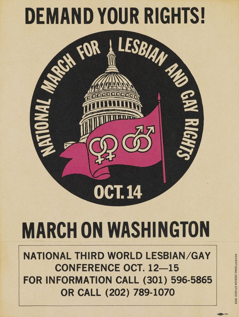 Flyer for the first national March on Washington in 1979 for Lesbian and Gay Rights.
