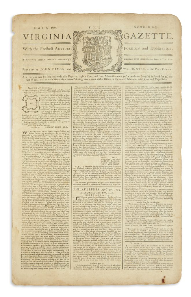 Virginia Gazette newspaper from May 6, 1775.