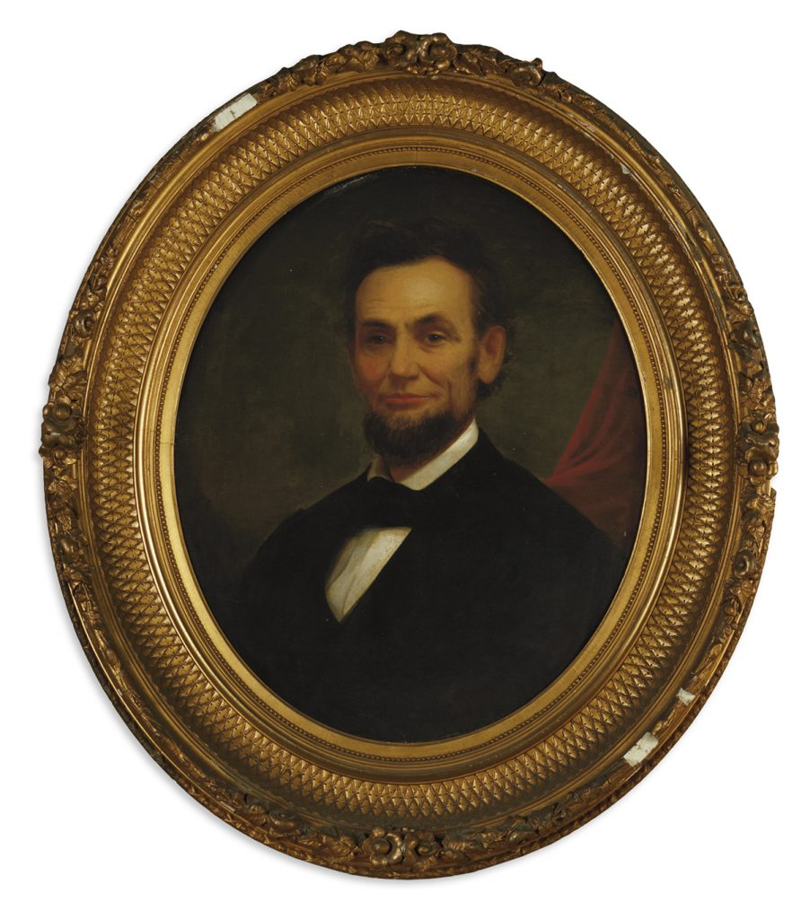 Oil painting of Abraham Lincoln in a gold frame by Matthew Henry Wilson.