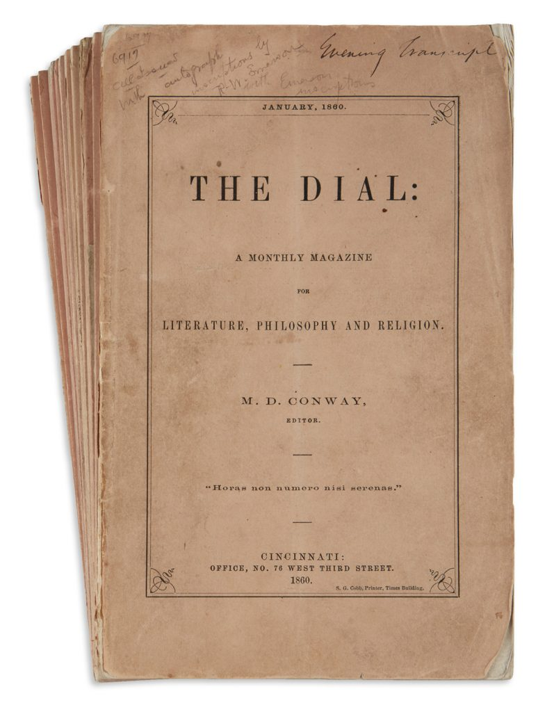 "Cover of ""The Dial"" by Ralph Waldo Emerson."