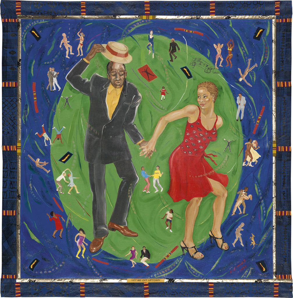 Painting of two people dancing with smaller figures dancing surrounding them by Emma Amos.