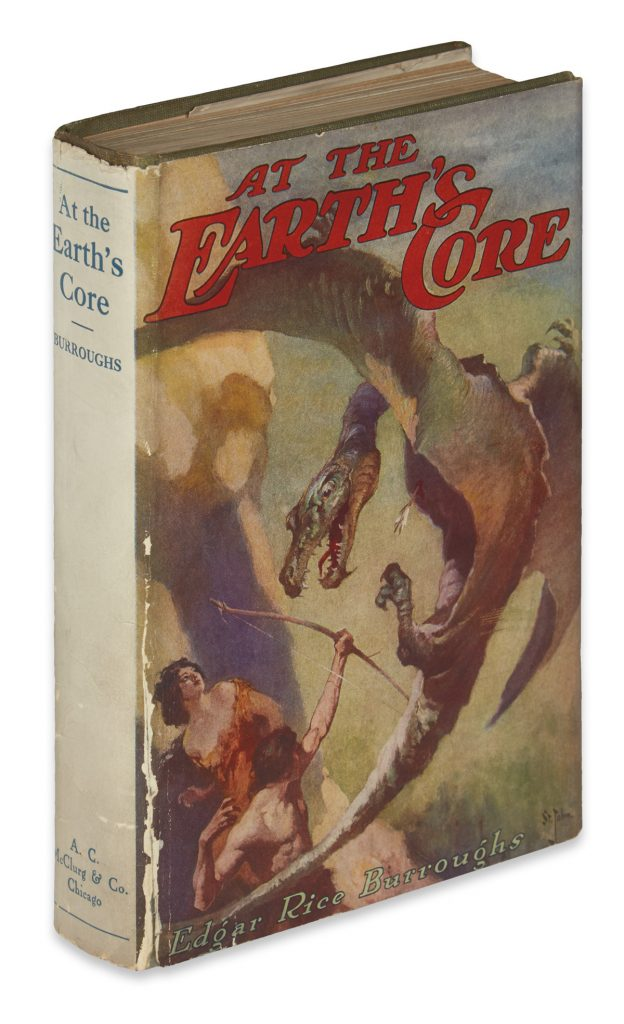 "Cover of ""At the Earth's Core,"" with a man slaying a dragon with a bow and arrow, by Edgar Rice Burroughs."
