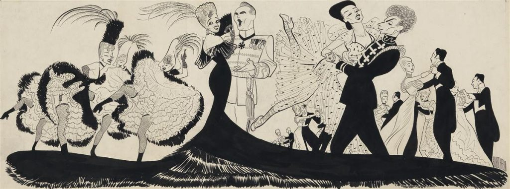 "A caricature scene from the musical ""The Merry Widow"" by Al Hirschfeld."