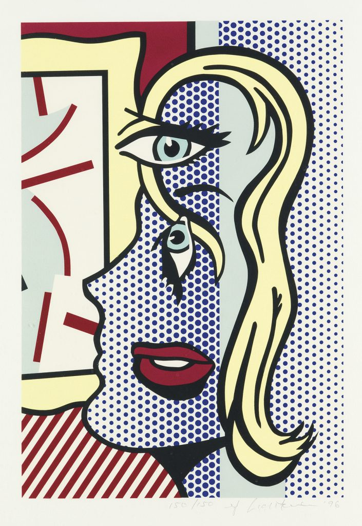 An abstract image of a woman in profile done in the style of a comicbook drawing by Roy Lichtenstein.